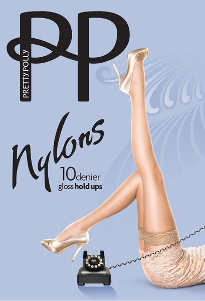 Pretty Polly Gloss nylons 10D Stay-up  / Strumpbyxor.com
